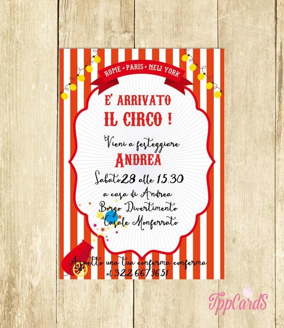 Famoso Invito Compleanno Circo Rosso Invito Festa Compleanno Invito SC69