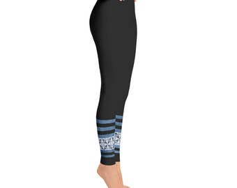 Black Leggings - Blue Ankle Pattern Striped Leggings Tights for Women, Black Yoga Pants