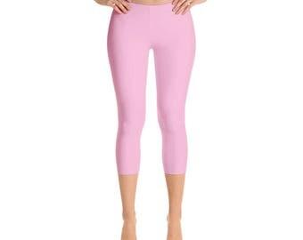 Capris - Pink Leggings, Solid Colored Leggings, Mid Rise Waist Yoga Pants