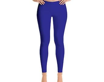 Navy Blue Yoga Pants - Yoga Leggings for Women, Mid Rise Waist Workout Pants