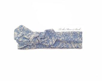Baby Headband / Toddler Headband / Baby Shower / Baby Bow / Newborn Gift /Baby Gift / Blue Floral Headband