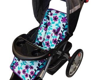 Flower Power Stroller Liner- Reversible to Turquoise Minky