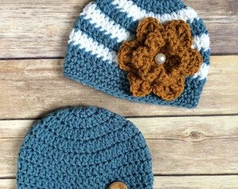 Newborn Boy and Girl Crochet Hats - Twin hats - Twin beanies - 0 to 3 months - Striped beanie - Crochet Flower
