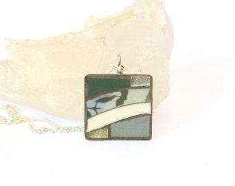 Sage Green Pendant Necklace, Ceramic Pendant, Mosaic Pendant, Mixed Media Pendant, Pendant Necklace, Mosaic Jewellery, Eclectic Jewellery