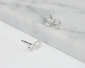 Sterling Silver 925 Infinity Stud Earrings - Dainty 9mm size, Solid 925 Sterling Silver