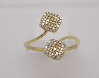 14K Yellow Gold Diamond New Fashion Pave Ring