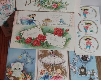 8 Vintage Unused Greeting Cards Sunshine Cards 2 New Baby 4 Get Well 2 Best Wishes  w Envelope Paper Ephemera Vintage Greetings MId Century