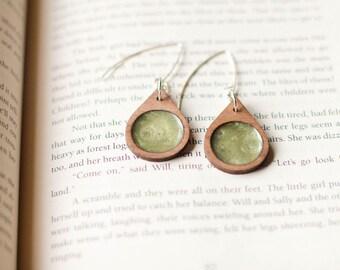 Modern Raindrop Laser Cut Walnut Wood and Metallic Mineral Pigment Earrings in Peridot Green... Custom Available