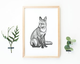 Hand drawn fox print A4, pencil drawing, woodland, fox drawing, black and white print, animal illustration, A4 nature print, home decoration