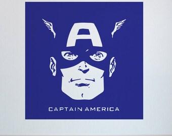 Captain America Marvel - Children's Vinyl Wall Art Decal, Sticker, Stencil