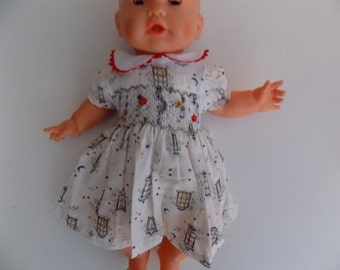 Doll clothes, dress hand smocking, embroidered hand, in cotton, grounds stars, moon, doll, 30 cm, 36 cm, 40 cm.