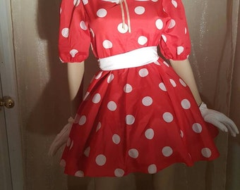 Minnie mouse costume, disney dress ,size small to large,up to Size 12 ,mimie dresss, red dress ,vintage minie mouse  30% off this month