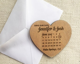 Calendar Heart Save the Date Magnet - Rustic Wedding - Personalized Wood Save the Date - Custom Wedding Magnet - Wedding Announcement