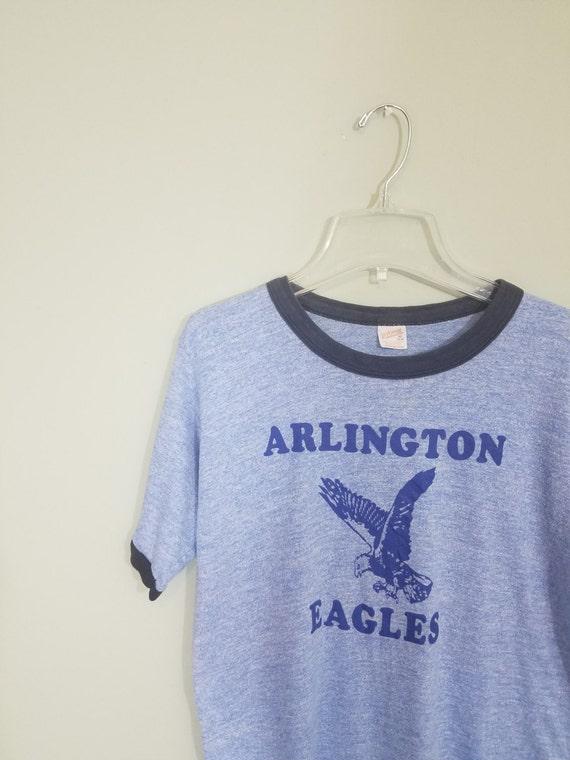 1970s Ringer Tee / Arlington Eagles / Heathered Light Blue and Navy T-shirt / Vintage School Shirt / Modern Men's Size Small to Medium