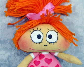 Night fairy, with red hair and in a dress with hearts - Doll handmade fabric - pupa-mascot