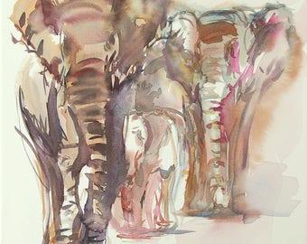 Original watercolor of elephants, original painting of elephants, watercolor of animals, painting of animals of the savannah