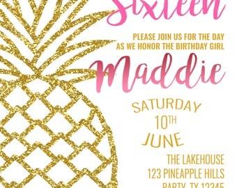 Sweet Sixteen Birthday Invitation Big Gold Pineapple