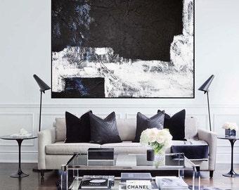 Geometric XXL Black & White Blue large contemporary art handpainted heavy texture