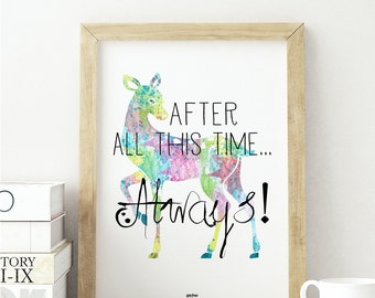 Harry Potter Always Art, Famous quote Harry Potter, Home wall art print Harry Potter. After all this time, Always