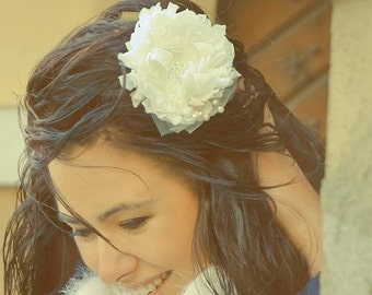 White Bridal Flower Wedding Hair Piece Headpiece Ivory