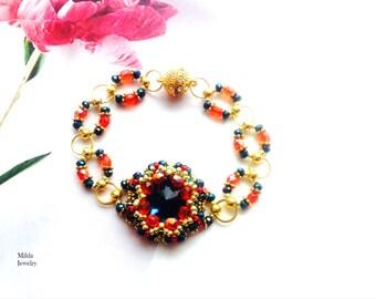 Beaded bracelet for her, Women's bracelet, handmade czech glass bead bracelet, chandelier stackable bracelet, unique red, bleu gold bracelet