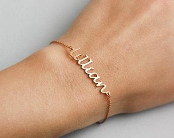 Rose Gold Name Bracelet, Custom Name Bracelet, Rose Gold Bracelet Personalized, Custom Name Jewelry, Bracelet with Name, Gift for Her SB0181