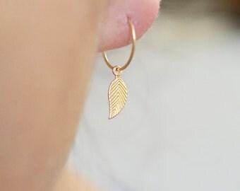 Leaf Hoop Earrings, Leaf Charm Earrings, Hoop Earrings in 14K Solid Gold, 14K Gold Fill, or Sterling Silver