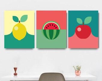 Kitchen Poster Set, Modern Kitchen Art, Kitchen Print Set, Set of 3 Prints, Wall Art Set of 3, Fruit Poster, Instant Download Printable Art