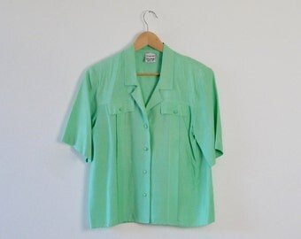 Vintage Silk Blouse  |  Green Silk Top  |  Pure Silk Shirt  |  Ladies Vintage Silk Top