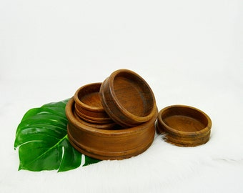 Mid Century Teak Salad Bowls, Wooden Bowls, 5 Piece Set