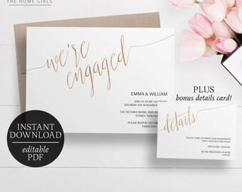 Printable Engagement Invitation Rose Gold Foil | Editable Template | Faux  Foil | Engagement Party |  Engagement Invitation Cards Templates