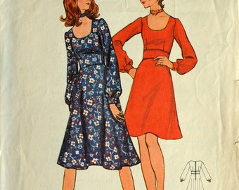 1970s Butterick Vintage Sewing Pattern 6167, Size 8; Misses' Dress