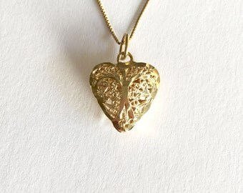 Gold Heart Necklace, 14K Gold Vintage Heart Pendant, Vintage Pendants, Gold Filigree Necklaces