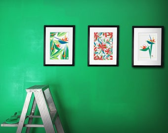 lot of three tropical posters, illustrations plant exotic foliage, flowers and birds of paradise, to frame
