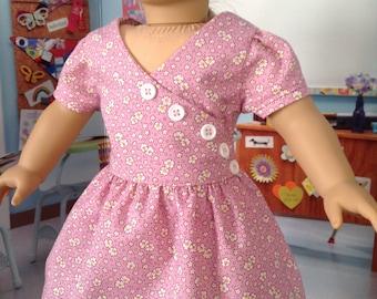 Flour sack frock,  1920's to 1930's dress, depression era dress, dusty pink dress, short sleeve dress, Button front dress,  30's print dress