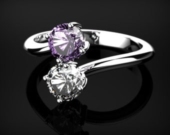 Amethyst Engagement Ring White Gold Ring Gemstone Engagement Ring Amethyst Engagement Ring February Birthstone