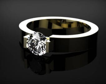 Solid Yellow Gold White Sapphire Engagement Ring Yellow Gold White Sapphire Yellow Gold White Sapphire Ring Diamond Alternative Yellow Gold