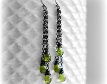 Peridot Earrings, Peridot Dangle Earrings, Gift For Her, Green Tassel Earrings, Silver Peridot Dangle Earrings, Handmade by Blissaria