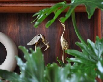Pair of Brass Birds - Brass Cranes - Decor