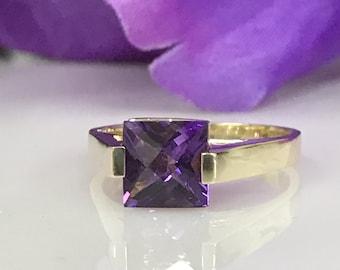 Princess Cut Amethyst Ring in 14K Yellow Gold#1577