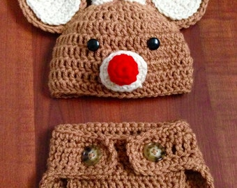 Reindeer Outfit, Christmas Costume, Rudolf, Newborn and 0-3 month, Reindeer Hat and Diaper Cover