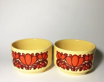 70s Kiln Craft Bowls, Orange Burgundy Yellow. Soup Cereal. Staffordshire Potteries, Made in England, English Ironstone.