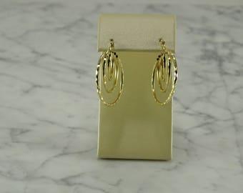 14K Yellow Gold Triple Hoop Earrings (pierced)