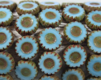 Czech Glass Beads, 12mm Daisy Flower, Sky Blue, 15 Pcs