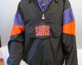 Phoenix Suns Pullover Jacket (VTG) - Black Colourway By Starter - Men's XL