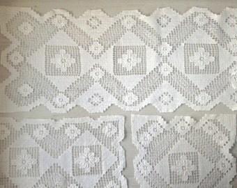 6 rectangular white crochet doily vintage