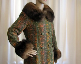 1960's Mod Tapestry and Rabbit Fur Midbrooke Long Winter Coat, Midbrooke, Mod, Tapestry, Rabbit fur, 1960's, Small, Green, Orange, Long