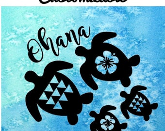 CUSTOM Ohana Sticker ~ Honu Sticker ~ Hawaii Sticker ~ Hawaii Decal ~ Ohana Turtle Decal ~ Family Sticker ~ Turtle Family Decal