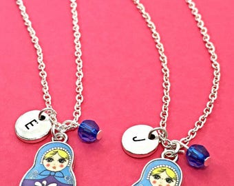 Best friend necklace, bff necklace - set of 2 bff, Russian doll necklace, Russian Jewelry, nesting doll necklace, friendship jewelry, gift