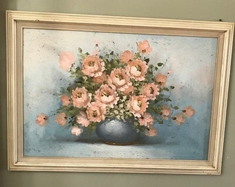 Beautiful Original Acrylic Painting Canvas by A. Sweeting Vintage Floral Framed Painting Contact me for shipping price